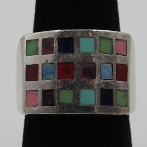 Size 6.25 Sterling Silver Colorful Inlay Band Ring